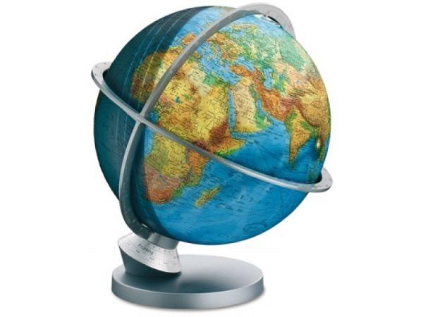 Globus Columbus Planet Erde politisch und physikalisch, Tag-Nachtdarstellung, Fuss Kunststoff silber, Meridiane Fiberglas silber, beleuchtet, D:30cm, H�he 40cm