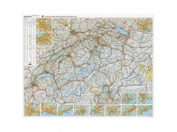 Landkarte Schweiz Strassenkarte TCS Massstab: 1:301 000