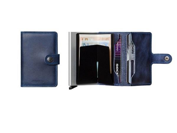 Kreditkartenetui Secrid Miniwallet vintage blau, Leder