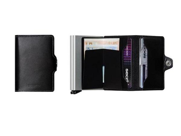 Kreditkartenetui Secrid Twinwallet original schwarz, europäisches Leider, für 12 Karten, Original Le
