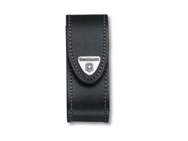 Gürteltasche Victorinox schwarz für Taschenwerkzeug 37mm lang, mit Klettverschluss, passend zu Victorinox Offiziermesser, Metall-Brosche mit Logo auf der Lasche, Steppnaht schwarz