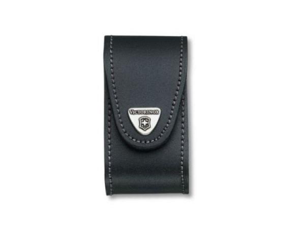 G�rteltasche Victorinox schwarz f�r Taschenwerkzeug 49mm lang, mit Klettverschluss, passend zu Victorinox Offiziermesser, Metall-Brosche mit Logo auf der Lasche, Steppnaht schwarz