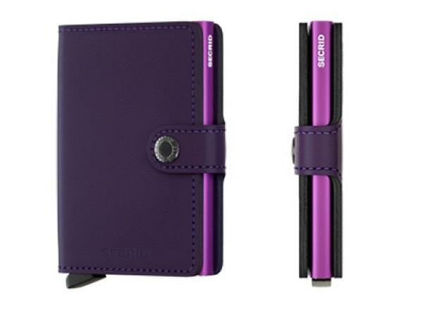 Kreditkartenetui Secrid Miniwallet matte purple aus Leder