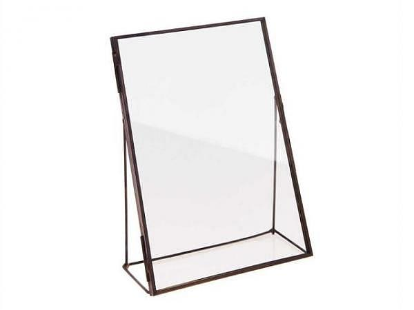 Rahmen Rico Design Metallrahmen schwarz 13x18cm zum Aufstellen mit doppelter Glasscheibe