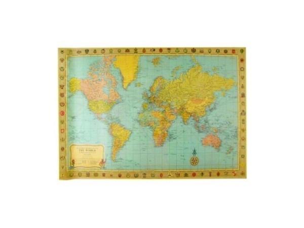 Geschenkpapier Cavallini Weltkarte 50x70cm im Vintagestil