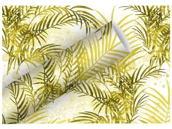Geschenkpapier Braun Company Palmengarten 70cmx1,5m, weiss mit goldige Palmenblätter glänzend, 76g/qm