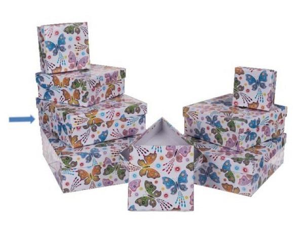 Geschenkschachtel Schmetterling Grösse 6 ca. 17x17x6cm quadratisch