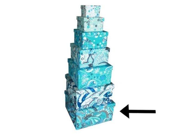 Geschenkschachtel Blue Ornaments aus Indien 40x40x25cm