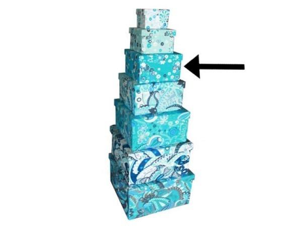 Geschenkschachtel Blue Ornaments aus Indien 22,5x22,5x14,5cm, mit Stoffüberzug