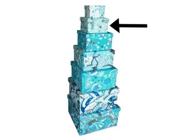 Geschenkschachtel Blue Ornaments aus Indien 17,5x17,5x12cm, mit Stoffüberzug