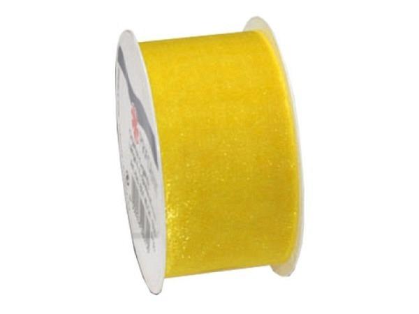 Geschenkband Präsent Sheer gelb halbtransp Organzaband