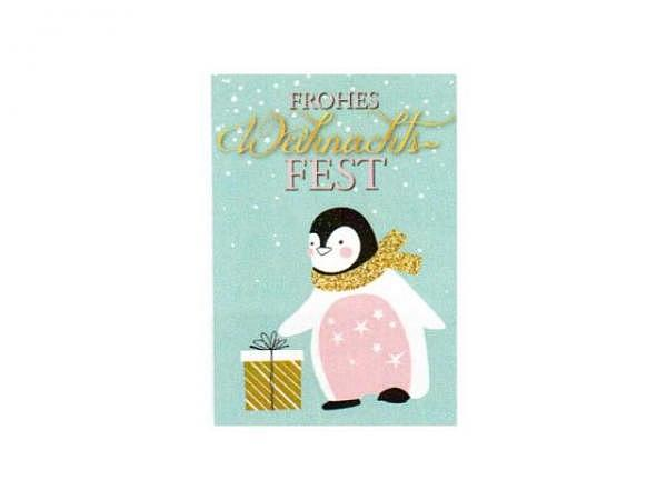 Geschenksanhänger 4er Set, Pinguin mit Geschenk, 5,5x8cm mit Text Frohes Weihnachtsfest