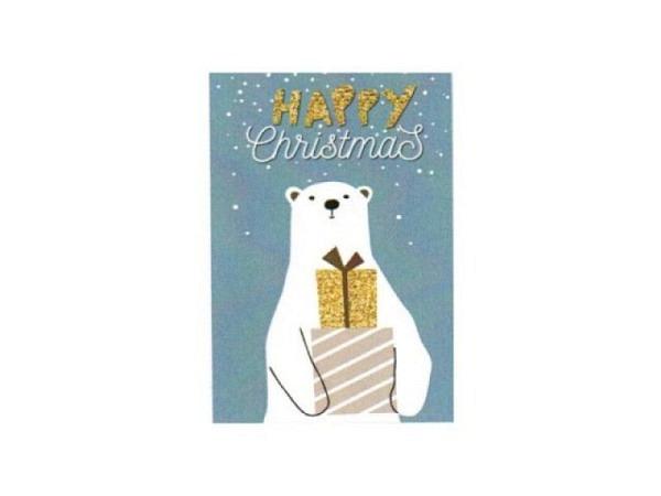 Geschenksanhänger 4er Set, Eisbär mit Geschenken, 5,5x8cm mit Text Happy Christmas
