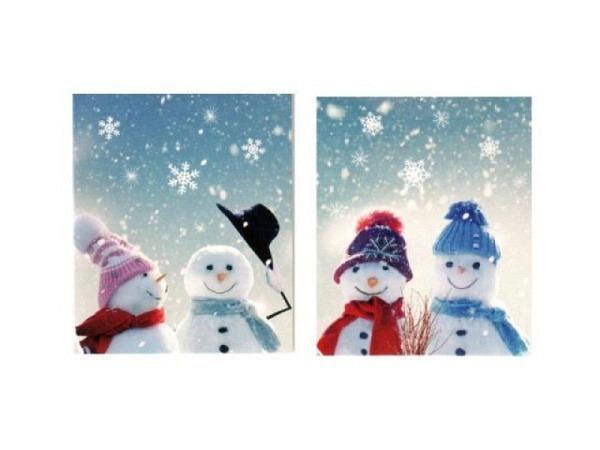 Geschenksanhänger ABC 4er Set zwei Schneemänner