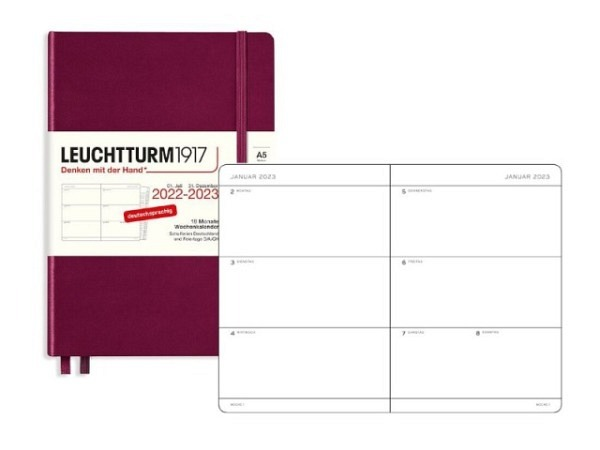 Agenda Leuchtturm Medium 7 Tage auf 2 Seiten Hardcover pacific green