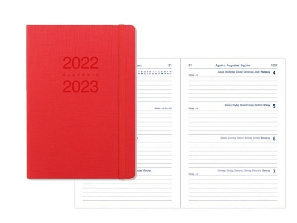 Agenda Letts Sommer Memo A6 Orange-Fuchsia 7 Tage auf 2 Seiten