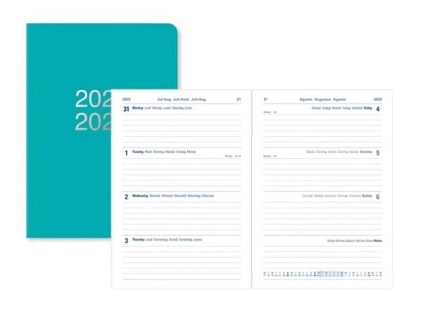 Agenda Letts Sommer Dazzle A6 türkis, 7 Tage auf 2 Seiten
