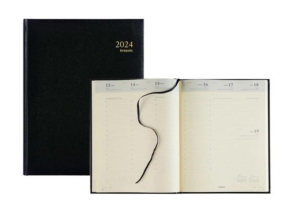 Agenda Brepols Concorde Lima Kunstleder schwarz, 7 Tage auf 2 Seiten