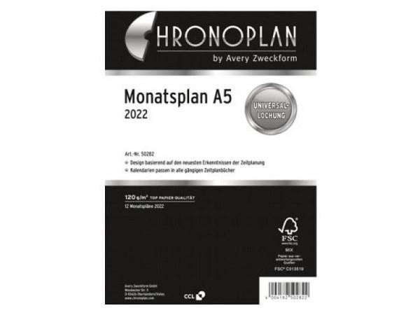 Einlage Chronoplan A5 Monatsplan 1 Monat auf 1 Seite
