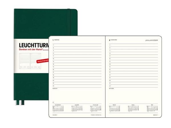 Agenda Leuchtturm Medium 1 Tag auf 1 Seite Hardcover Pacific green