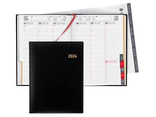 Agenda Biella Orario Leder schwarz 7 Tage auf 2 Seiten