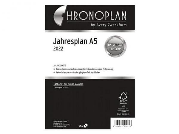 Einlage Chronoplan A5 Jahresplaner 6 Monate auf 2 Seiten