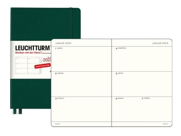 Agenda Leuchtturm Sommer Medium 7 Tage auf 2 Seite Hardcover salbei