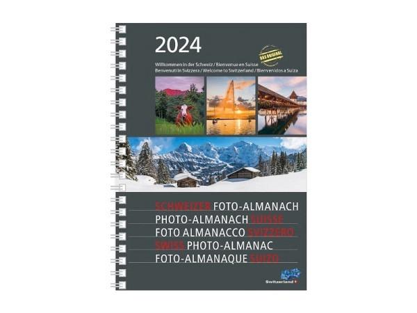 Agenda Schweizer Foto-Almanach A5 7 Tage auf 2Seiten mit Bildern für jede Woche, Spirale an der Läng