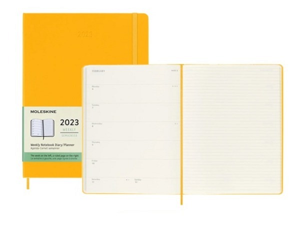 Agenda Moleskine Hardcover Pocket 7 Tage auf 1 Seite Reifes Gelb
