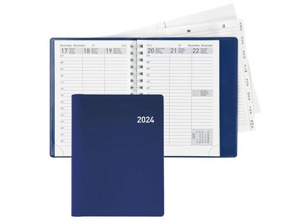 Agenda Biella Rex Wire-O blau, 7 Tage auf 2 Seiten