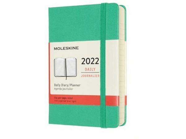 Agenda Moleskine Hardcover Pocket 1 Tag auf 1 Seite Magnetgrün