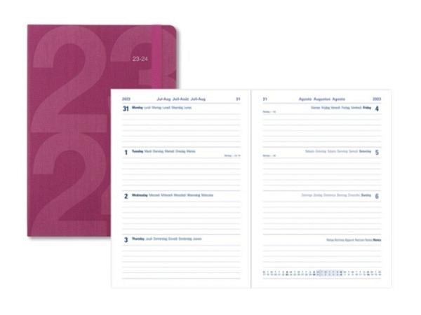 Agenda Letts Sommer Block A5 pink, 7 Tage auf 2 Seiten