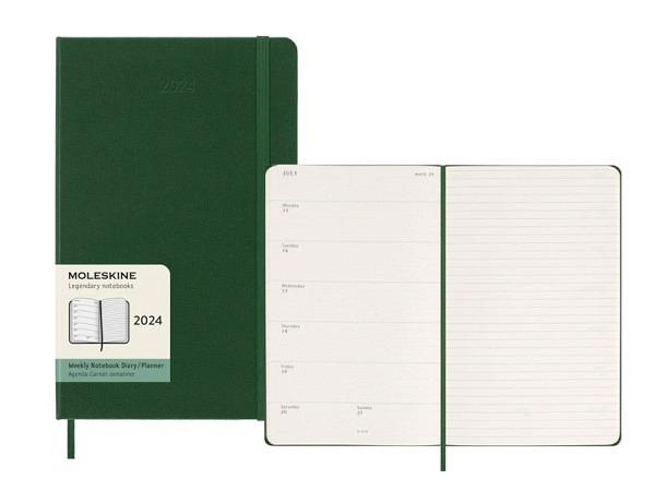 Agenda Moleskine Hardcover Large 7 Tage auf 2 Seiten horizontal saphirblau