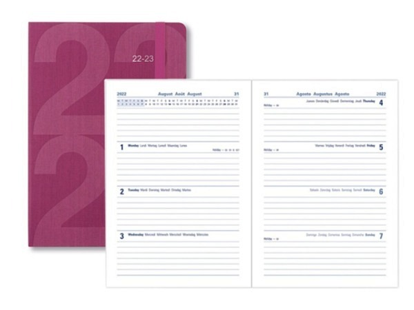 Agenda Letts Sommer Block A5 pink 1 Tag auf 1 Seite