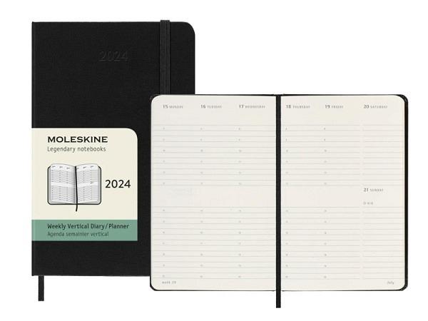 Agenda Moleskine Hardcover Pocket 7 Tage auf 2 Seiten vertikal schwarz