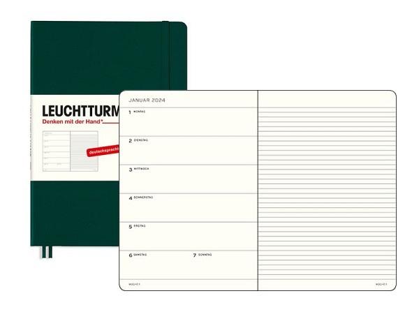 Agenda Leuchtturm Medium 7 Tage auf 1 Seite Hardcover salbei