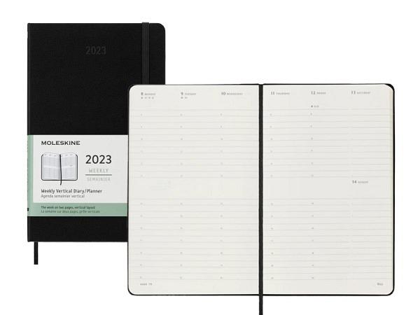 Agenda Moleskine Hardcover Large 7 Tage auf 2 Seiten vertikal schwarz