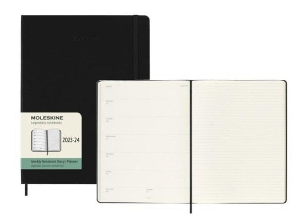 Agenda Moleskine Sommer Hardcover XL 7 Tage auf 1 Seite 19x25cm schwarz