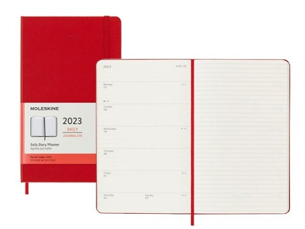 Agenda Moleskine Sommer Hardcover Large 7 Tage auf 1 Seite A5 13x21cm Magnetgrün