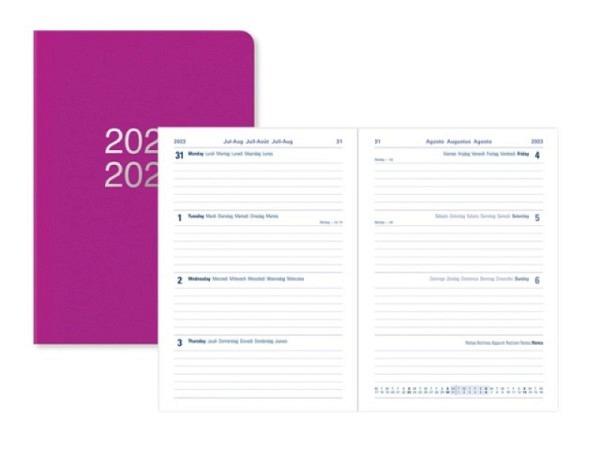 Agenda Letts Juli Dazzle A5 New pink, 7 Tage auf 2 Seiten
