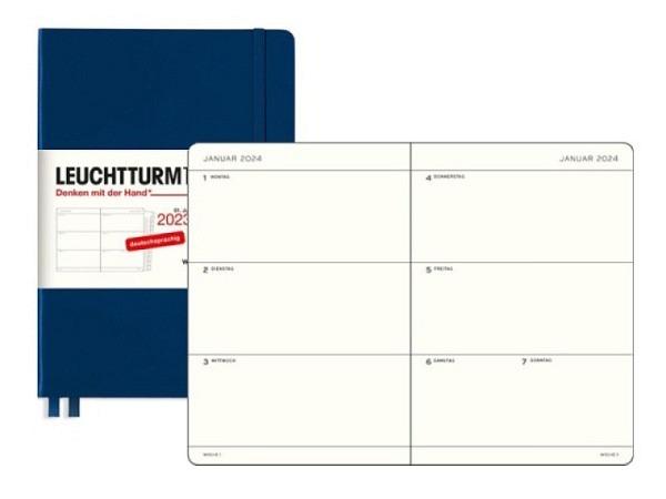 Agenda Leuchtturm Medium 7 Tage auf 2 Seiten Hardcover anthrazit