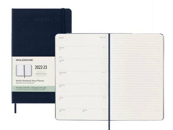 Agenda Moleskine Sommer Hardcover Large 7 Tage auf 1 Seite A5 13x21cm saphir