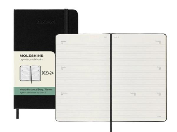 Agenda Moleskine Sommer Hardcover Pocket 7 Tage auf 2 Seiten A6 schwarz