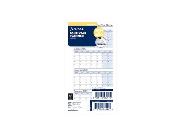 Einlage Filofax Personal 4-Jahresplaner 2021-2024 englisch
