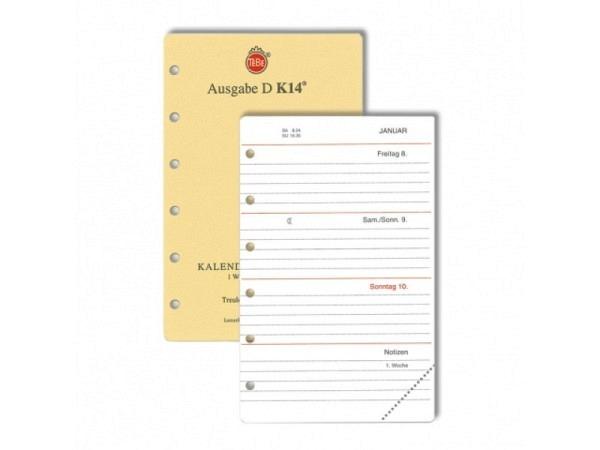 Agenda Tebe Jahresinhalt K14 7 Tage auf 2 Seiten