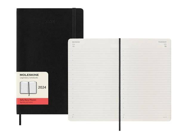 Agenda Moleskine Large 1 Tag auf 1 Seite, schwarzer Umschlag Softcover, Large Daily Diary. Mit 400 S