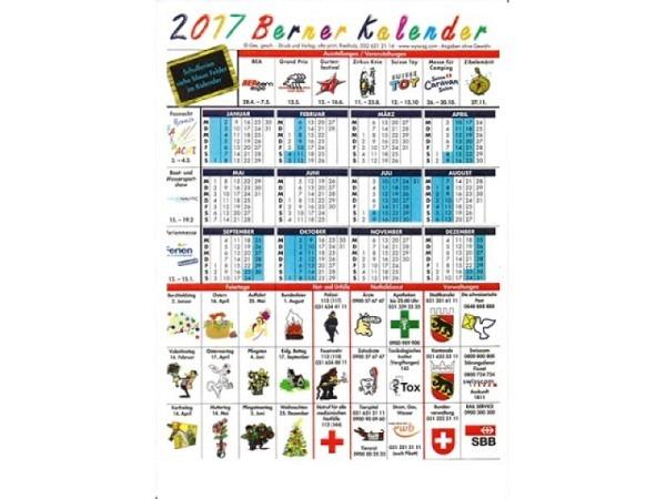 Planer Berner Kalender, aus Karton A4, mit Schulferien