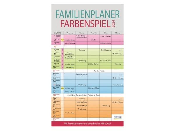 Familienplaner Korsch Farbenspiel mit 5 Spalten 27x47cm