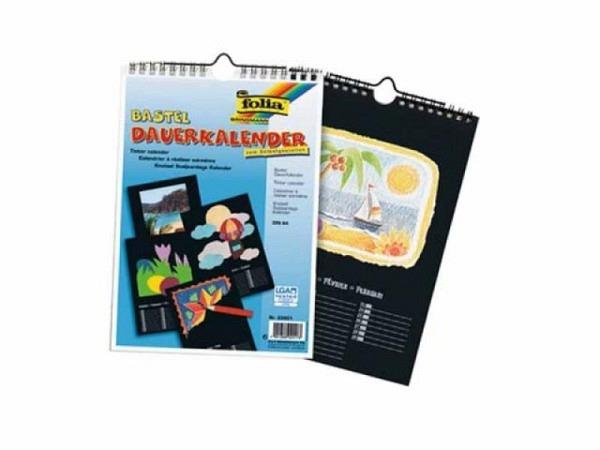 Bastelkalender Folia schwarz A4 170g/qm, immerwährend, 1 Monat pro Blatt