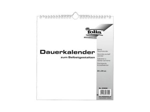 Bastelkalender Folia immerwährend weiss 23x24cm